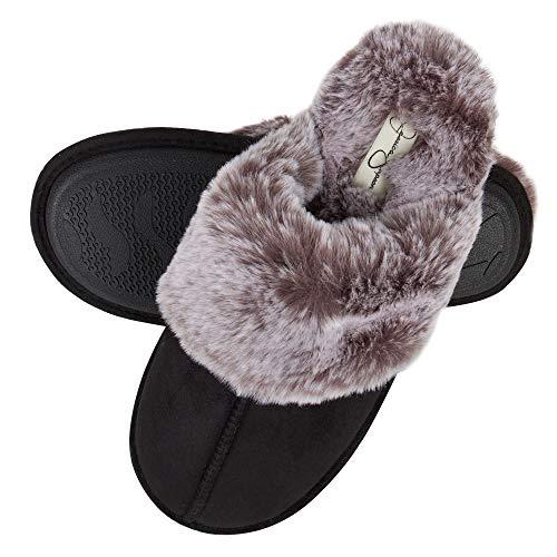 Jessica Simpson Women's Comfy Faux Fur House Slipper Scuff Memory Foam Slip on Anti-skid Sole, Black, Medium