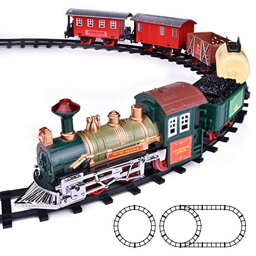 FUN LITTLE TOYS Train Set Classic Electric Train Toy Included 6 Cars and 11 Tracks with Lights and Sounds