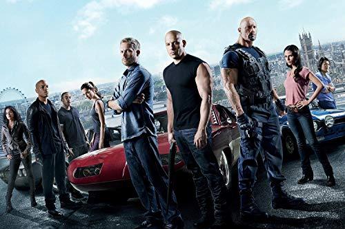 UpdateClassic Fast & Furious 6 (2013) Movie Poster Dwayne Johnson, Vin Diesel, Paul Walker, Michelle Rodriguez - Poster 24 x 36 inch Poster Print Frameless Art Gift 60 x 91 cm Matte Paper Surface