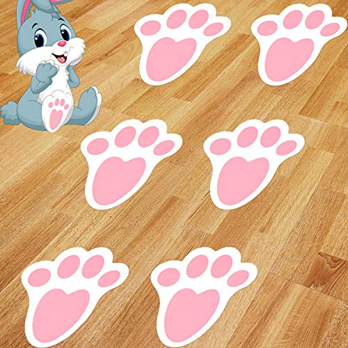 Outus 52 Pieces Easter Stickers Bunny Paw Prints Footprints Floor Clings Decals Rabbit Footprints Stickers Cute Festive Decals Decorations for Floor Ceiling Window Wall Easter Day Party Supplies