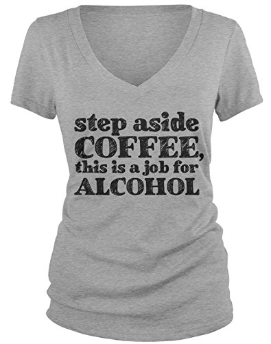Amdesco Junior's Step Aside Coffee, This is A Job for Alcohol V-Neck T-Shirt, Heather Gray Medium