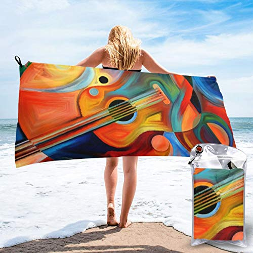Dujiea Lightweight Beach Towels Quick Dry with Pocket, Colorful Guitar Soft Microfiber Sand Free Pool Bath Outdoor Travel Towel for Camping Swimming Yoga Sports Girl Women Men Adults
