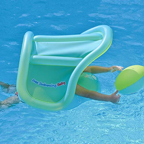 Free Swimming Baby Inflatable Baby Swimming Float with Safe Bottom Support and Retractable Canopy for Safer Swims(Blue,Small)