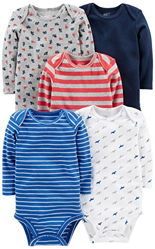 Simple Joys by Carter's Baby Boys' 5-Pack Long-Sleeve Bodysuit, Blue/Red/Grey, 18 Months