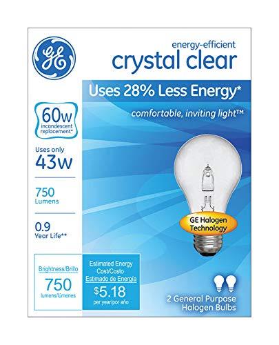 G E Lighting 78796 Halogen Light Bulbs, A19, Clear, 43-Watt, 2-Pk. - Quantity 6