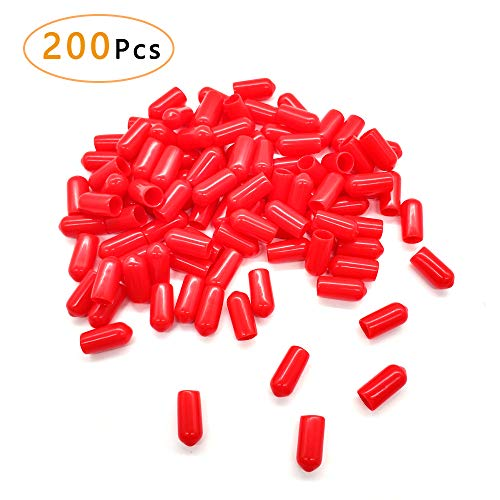 200Pcs Pour Spout Covers for Liquor Bottles,Pourers Spouts Covers Dust Rubber Caps for Olive Oil Liquor Bottles (Red)