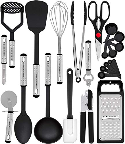 Home Hero Kitchen Utensil Set - 23 Nylon Cooking Utensils - Kitchen Utensils with Spatula - Kitchen Gadgets Cookware Set - Kitchen Tool Set
