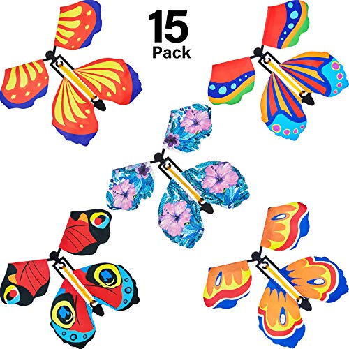 15 Pieces Magic Fairy Flying Butterfly Rubber Band Powered Wind up Butterfly Toy for Surprise Gift or Party Playing (Classic Style)