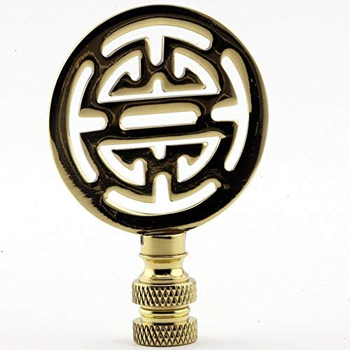 Polished Brass Asian Finial Lamp Shade Topper Oriental Character Letter Bright Gold