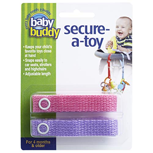 Baby Buddy Secure-A-Toy - Straps Toys, Teether, or Pacifiers to Strollers, Highchairs, Car Seats— Safety Leash With Adjustable Length to Keep Toys Sanitary & Clean, Pink/Lilac 2 Count