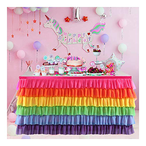 Tutu Table Skirt for Rectangle or Round Table Rainbow Chiffon Table Skirting for Party Baby Shower Wedding Birthday Decor (Rainbow, 6FT)