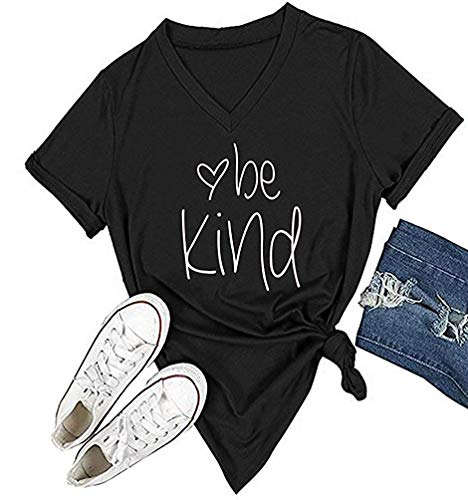 Qrupoad Be Kind Tees Women V-Neck Kindness Graphic Tee Short Sleeve Christian Summer Casual T Shirts