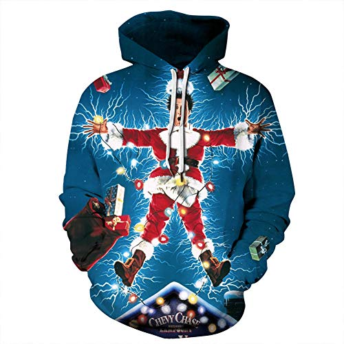 Gloria&Sarah Ugly Christmas Sweater Men Plus Size Funny Novelty Print Hoodie with Pocket Movie Star 4X