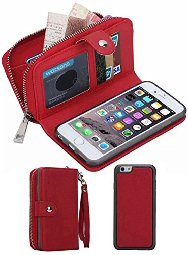 iPhone 6/6SWallet Case, HYSJY Girls Women Magnets Detachable Zipper Wallet Case iPhone 6/6S Cover PU Leather Folio Flip Holster Carrying Case Card Holder for iPhone 6 /6S 4.7' (Red)