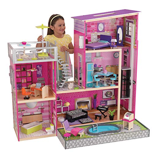 KidKraft Girl's Uptown Dollhouse with Furniture,Multi,49.25' x 25.25' x 46.25'