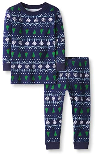 Moon and Back by Hanna Andersson Little Kids 2 Piece Long Sleeve Pajama Set, Winter Fair Isle, 8