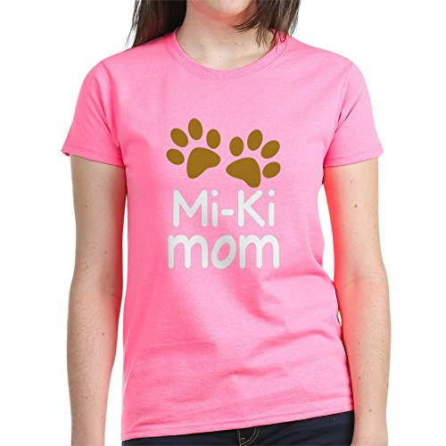 CafePress Mi Ki Dog Mom Women's Dark T Shirt Womens Cotton T-Shirt Pink