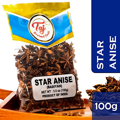 TAJ Premium Indian Star Anise Seeds (Whole Pods), Badian Khatai, 3.5-Ounce