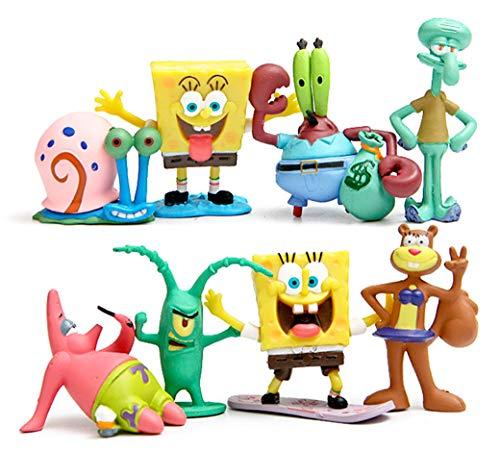 SpongeBob SquarePants 2' Figure Set of 8 - ft. Squidward, Sandy Cheeks, Patrick Star, Mr. Krabs, Plankten - Perfect for Kids Birthday Cake Toppers