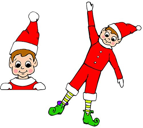 Car Magnet Holiday Christmas Elves Magnetc Decals for Locker or Fridge, Two Pack