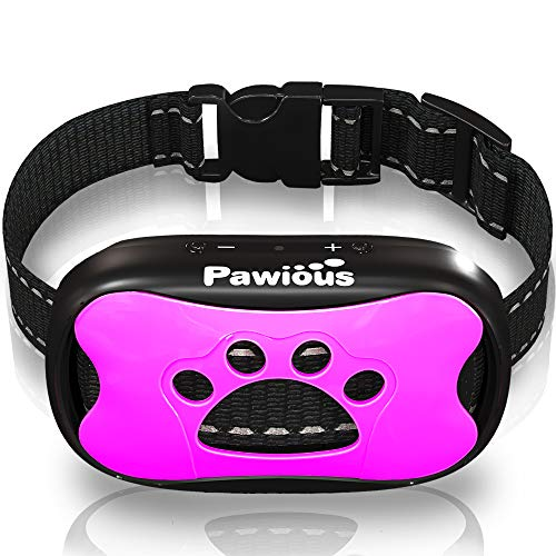 Pawious Bark Collar for Dogs - Humane No Shock Anti Barking Collar, Sound and Vibration, 7 Sensitivity Levels - for Small Medium and Large Dogs