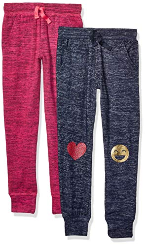 Amazon Brand - Spotted Zebra Toddler Girls Cozy Knit Joggers, 2-Pack Emoji/Pink, 2T