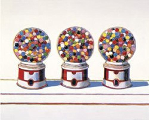 Three Machines 1963 by Wayne Thiebaud Gum Gumball Candy Kid Children Poster Overall Size 11x14, Image Size 8.25x10x