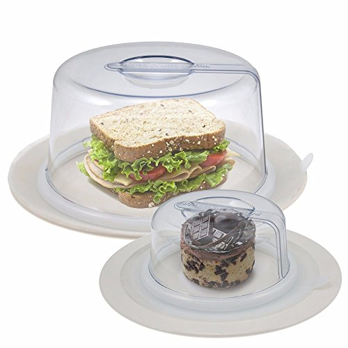 2 Clear PlateTopper (Mini & Tall) Universal Leftover Lid Microwave Cover Airtight