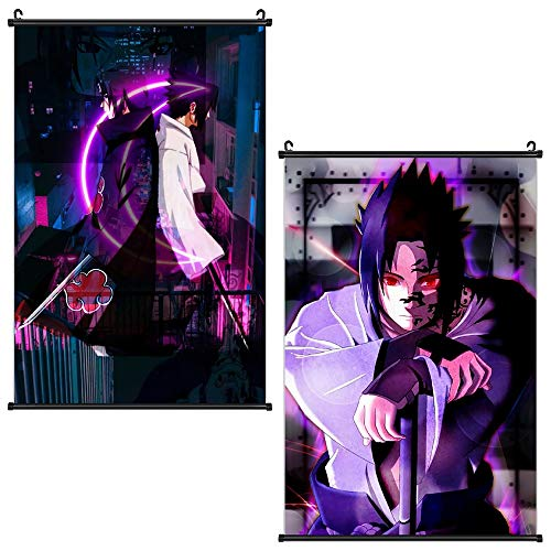 Naruto Poster 2 Packs Anime Sasuke Posters Wall Art Scroll Painting Picture Home Decor Bedroom Decoration 16x24 in