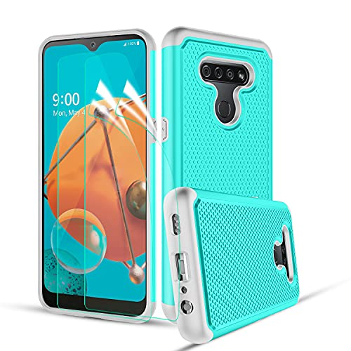 CASEKEY for LG K51 Case,LG Reflect/LG Q51 Phone Case with 2 PCS Screen Protector,Green