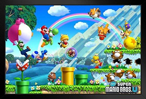 Pyramid America Super Mario Bros U Level Black Wood Framed Poster 20x14