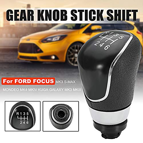 6 Speed Gear Shift Knob, Replacement for Ford Focus MK MK7 C-max Mondeo Black
