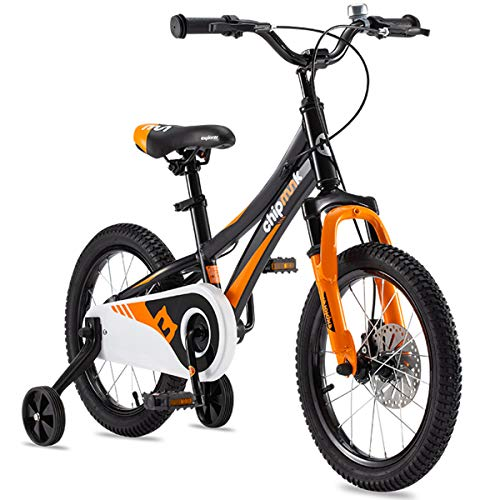 Royalbaby Boys Girls Kids Bike Explorer 16 Inch Bicycle for 4-7 Years Old Front Suspension Aluminum Child's Cycle with Disc Brakes Black