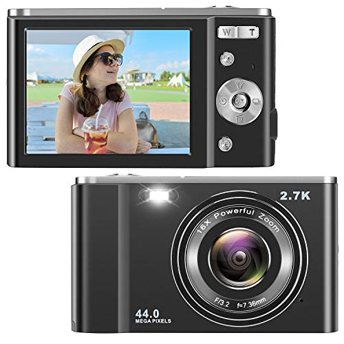 IEBRT Ultra HD Digital Camera, 2.7K 44MP Vlogging Camera Video Camera LCD Screen 16X Digital Zoom 36MP Rechargeable Point and Shoot Camera for Compact Portable Kids Teens Gift (2.8 inch Black)