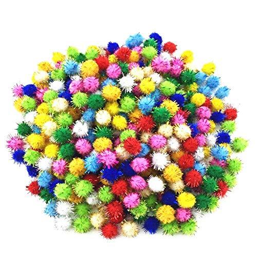 Kbraveo 1000pcs 1/2' Glitter Poms Sparkle Balls for Craft,Multicolored Glitter Poms