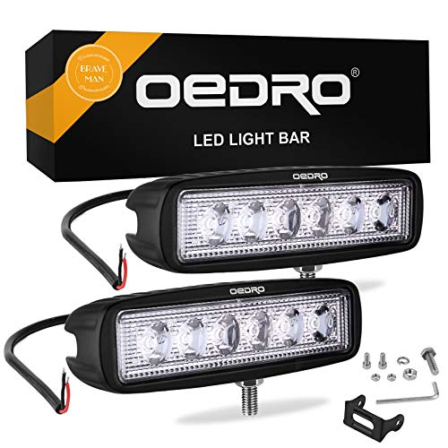 oEdRo LED Light Bar 2pcs 6 Inch 18W LED Work Light Off Road Lights Car Boat Lights Fog Driving Light Lamp Compatible for UTE SUV 4X4 4WD ATV Jeep 3 Years Warranty (Spot Fog Lamp)