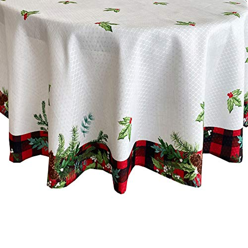 Lintex Aspen Red Black Plaid and Garland Bordered Christmas Tablecloth, Cottage Check Bordered Xmas and Holiday Print Easy Care Fabric Tablecloth, 70 Inch Round