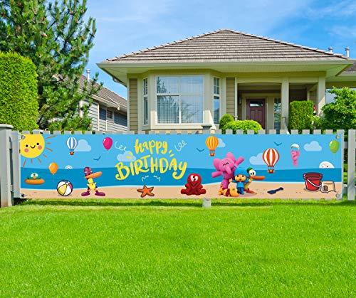 Pocoyo Party Supplies- Pocoyo Birthday Yard Sign Banner Decoration,Pocoyo Happy Birthday Banner for Kids Boys Girls' Birthday