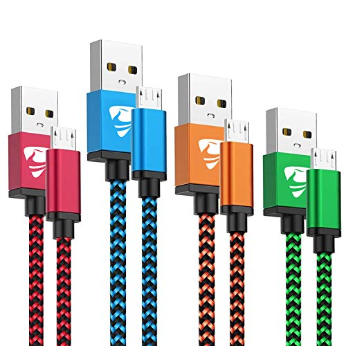 Micro USB Cable Aioneus Fast Android Cord Charger Cable 4Pack [2FT, 3FT, 5FT, 6FT] Cable Charging Cord for Samsung Galaxy S7 Edge S6 S5 J3 J3V J5 J7 J7V Note 5, LG K40 K22 K20, Tablet, PS4, Kindle