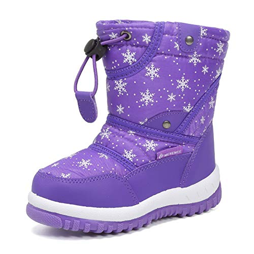 CIOR Winter Snow Boots for Boy and Girl Outdoor Waterproof with Fur Lined(Toddler/Little Kids) U118WXZ014-purple-26