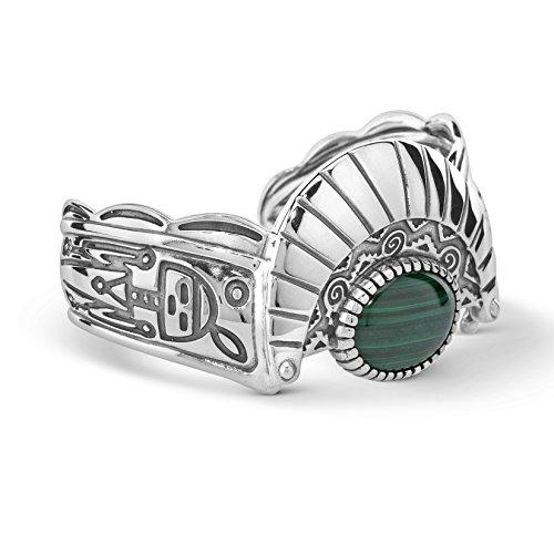 American West Sterling Silver Green Malachite Gemstone Fritz Casuse Designer Cuff Bracelet Size Medium