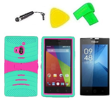 Hybrid w Kickstand Cover Case Phone Accessory + Screen Protector + Extreme Band + Stylus Pen + Pry Tool for Coolpad Rogue 3320 3320A (S-Hybrid Teal Pink)