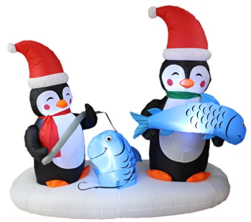 BZB Goods 6 Foot Long Lighted Christmas Inflatable Two Penguins Happy Fishing Party LED Lights Outdoor Indoor Holiday Decorations Blow up Yard Giant Lawn Inflatables Home Family Outside Decor