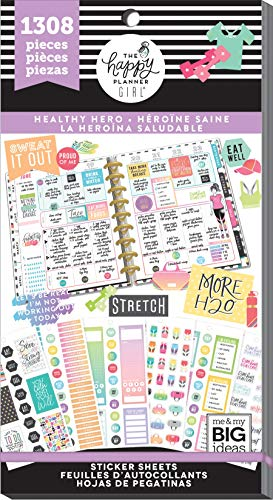 Me & My Big Ideas PPSV-79-3048 The Happy Planner Girl - Value Pack Stickers - Healthy Hero