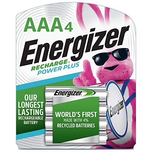 Energizer Rechargeable AAA Batteries, NiMH, 800 mAh, Pre-Charged, 4 count (Recharge Power Plus)