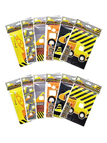 Construction Trucks Coloring Book with Crayons Party Favors, 12 Pack