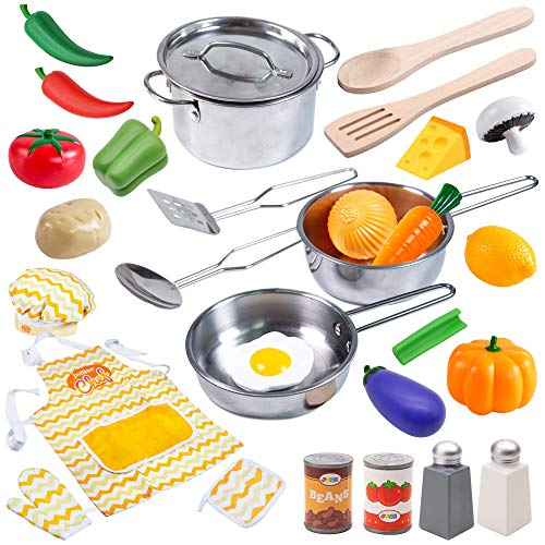 JOYIN 29 Pcs Play Kitchen Accessories Kids Pots and Pans Playset, Toy Kitchen Sets with Stainless Steel Cookware Set, Cooking Utensils, Apron&Chef Hat and Grocery Play Food Sets, Gift for Kids