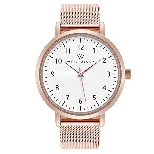 WRISTOLOGY Olivia Womens Watch Numbers Rose Gold Boyfriend Ladies Stainless Steel Metal Mesh Strap Band