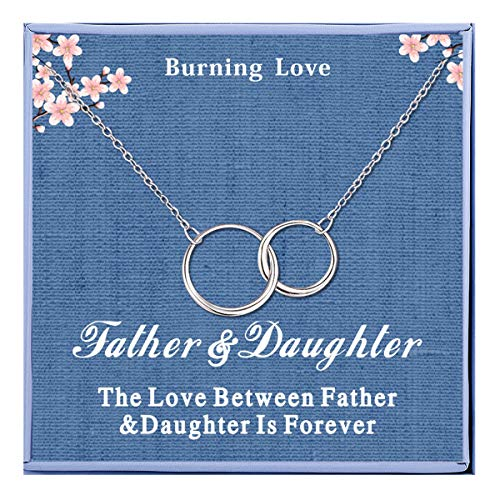 Father Daughter Necklace Sterling Silver 2 Interlocking Circles Infinity Necklaces Dad Daughter Necklace Pendant for Women Girls Daughter Gifts from Dad Daughter Birthday Gifts