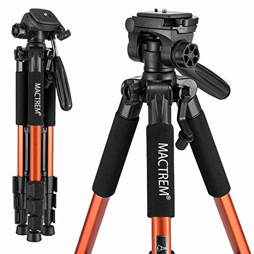 MACTREM M-PT55-Bk PT55 Travel Camera Tripod Lightweight Aluminum for DSLR SLR Canon Nikon Sony Olympus DV with Carry Bag -11 Lbs(5Kg) Load (Orange)